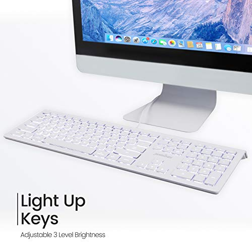 Perixx PERIBOARD-323 Wired Backlit Keyboard for Mac OS X, X Type Scissor Keys, White LED, Full Size Layout, US English Layout (11532)