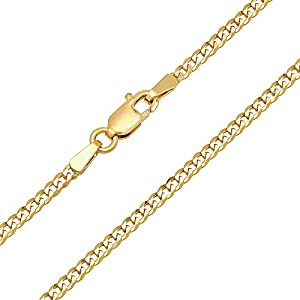 Forever Flawless Jewelry 14K Yellow Gold 2mm Concave Curb Classic Link Chain Necklace