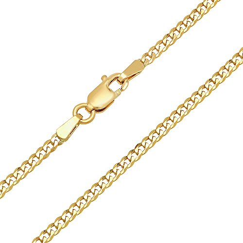14k Gold Box Chain (14K Yellow Gold 2mm Concave Curb Classic Link Chain Necklace - 18 inches)