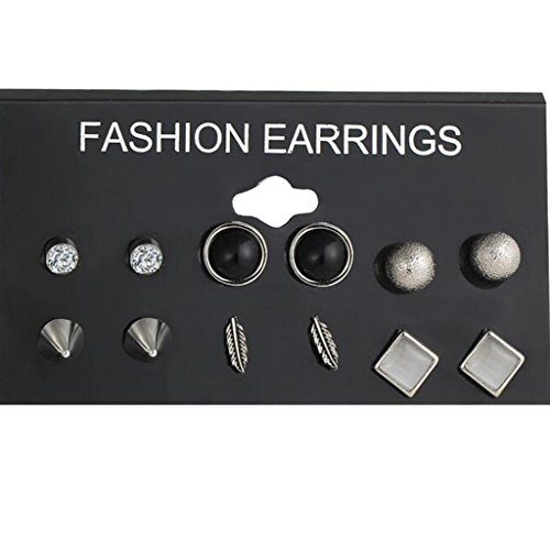 New 6 Pairs/Set Fashion Punk Crystal Stud Earrings For Women - 5.00 Fashion