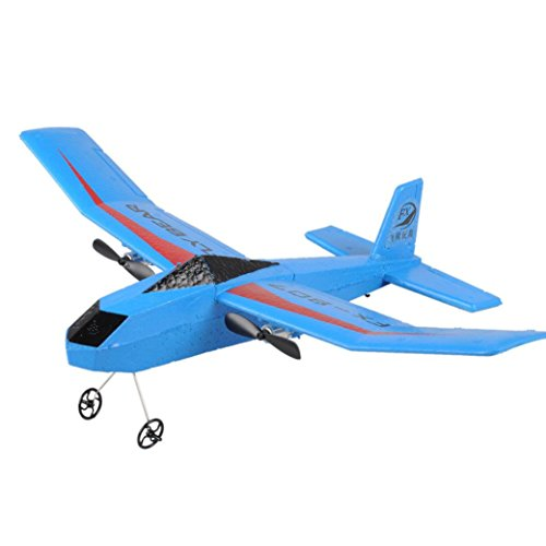 FX807 2.4G 2CH RC Glider Airplane, Remote Control Helicopter Toy RC EPP Foam Plane with 3.7V 150mAh Battery for Kids Blue