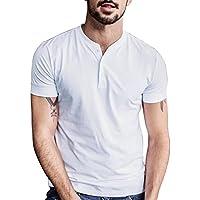 Vanca Men Henley T Shirts Casual Cotton Long Short Sleeve
