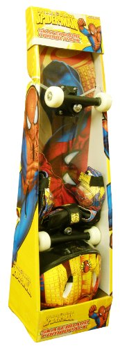 Spider-Man 28-Inch Skateboard, Helmet, and Protective Pad Combo Pack (Colors May Vary)