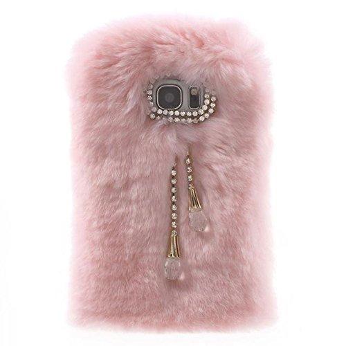 Caja del teléfono del conejo de piel de TPU con el colgante para Samsung Galaxy S7 Edge pink