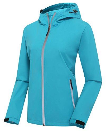 Jacket Running Jackets - ZSHOW Women's Hooded Jacket Lightweight Skin Coat Packable Windproof Jacket with Hood Night Running Gear(Acid Blue & Reflective Strips,X-Large)
