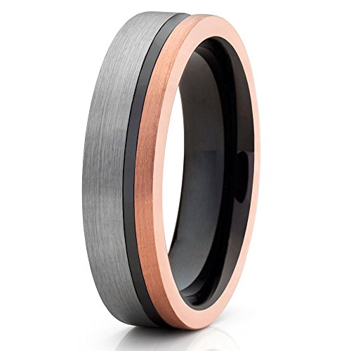 Unique Silver Inlay - 6mm Rose Gold Tungsten Carbide Wedding Band Brushed Silver Black Groove Inlay Unique Design Comfort Fit Unisex Ring 7.5