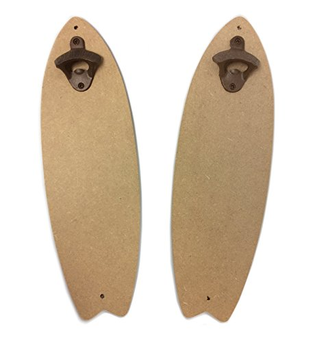 (MDF Surfboard Craft Plaque with Cast Iron Bottle Opener, 2-Pack, Measures 16