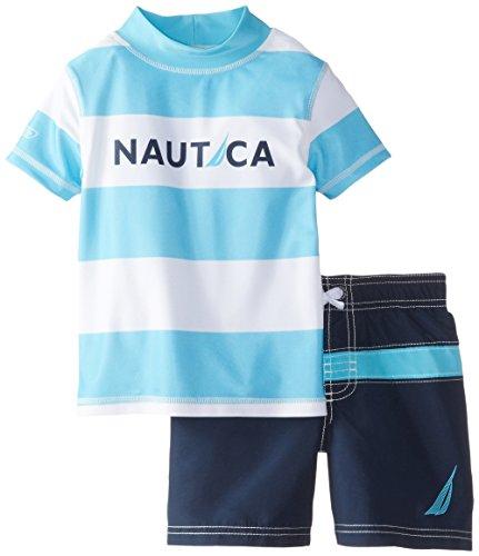 Nautica Little Boys' L Rashguard Swim Set, Turquoise, 4T