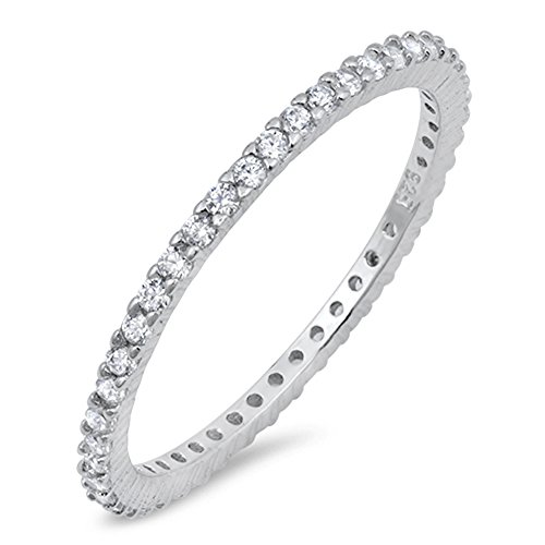 Sterling Silver Eternity Band Clear CZ Thin 2mm Ring Stackable Size 3 by Sac Silver