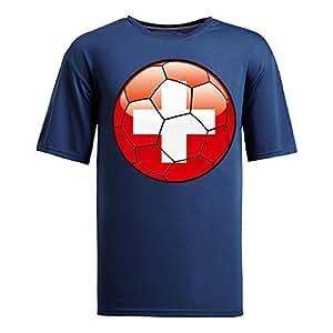 Custom Mens Cotton Short Sleeve Round Neck T-shirt,2014 Brazil FIFA World Cup swizterland_footbal navy