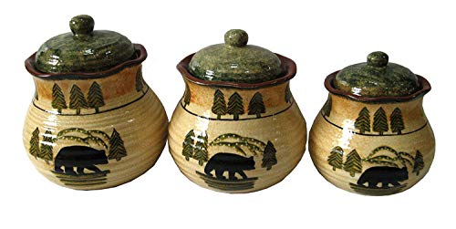 Hiend Accents Black Bear Canister Set 3 PCS