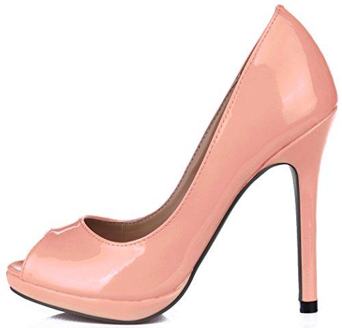 Light Pink chaussures verni l'automne la poissons du haute cuir la en chaussures de réformateur pointe de Cliquez talon de goût des sur femmes UB7wxqa1v
