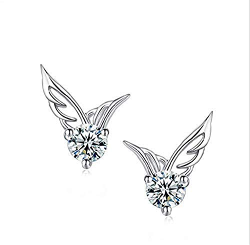 Jiamusi Cute Women's 925 Sterling Silver Angel Wings Crystal Rhinestone Ear Stud Earrings Jewelry Multi-Color one Size -