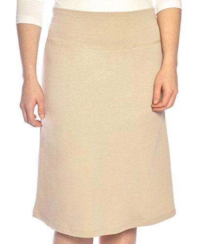 Kosher Casual Kids Big Girls' Modest A-Line French Terry Cotton Spandex Knee Length Sports Skirt Large Khaki Beige
