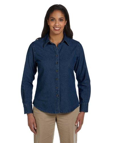 - Harriton Ladies' 6.5 oz. Long-Sleeve Denim Shirt - DARK DENIM - 2XL