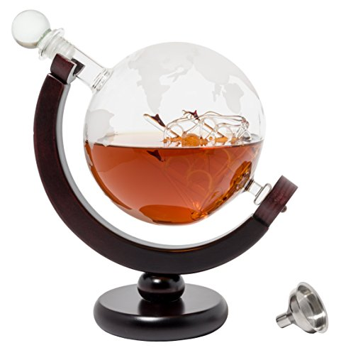 BarMe 850ml Whiskey Globe Decanter with Dark Finished Wood Stand and Bar Funnel by BarMe (Image #2)