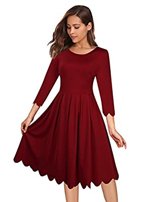 GlorySunshine Women's O Neck 3/4 Sleeve Scallop Pleated Tunic Skater Dress Cocktail Evening Party Dress