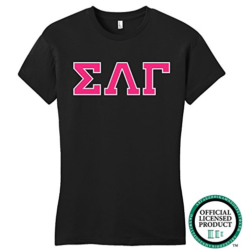 SIGMA LAMBDA GAMMA | Hot Pink Letters - Licensed Fitted Ladies' T-shirt-Ladies,