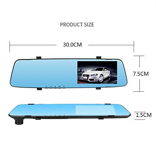 Mylujo Spiegel Dashcam Auto Kamera 4,5 Zoll 2.4D Glasspiegel Driving Recorder Doppelobjektiv Nachtsicht R/ückspiegel Driving Recorder mit R/ückfahrkamera