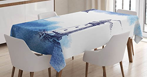 Ambesonne Farm House Decor Tablecloth, Nostalgic Watercolors Background with Gull Ancient Anchor Lighthouse Nautical Theme , Rectangular Table Cover for Dining Room Kitchen, 60x84 Inches, Blue White - Lighthouse Watercolor