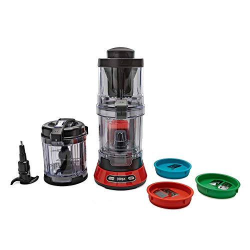 Ninja NN310 Precision Processor with Auto-Spiralizer, 4-Cup Bowl, 400 Watt, Red (Renewed) (Ninja Food Processors)