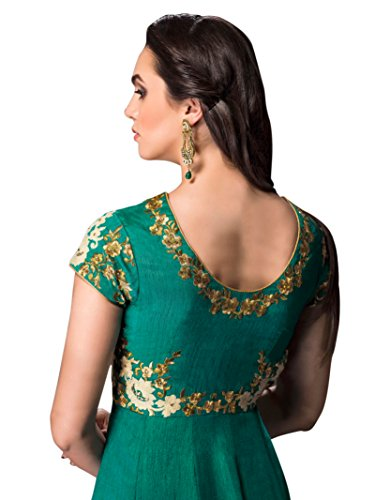 CRAFTLIVA-Teal-GREEN-Red-EMBROIDERED-FAUX-GEORGETTE-ANARKALI-SUIT-Free-Size