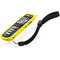 New Remote Control w/Vudu Netflix Radio Buttons for LG 55LF5700 65LF5700 LF-RCRUS-16 398GR10BELG00 Roku with Yellow Silicone Protective Soft Case Cover and Wrist Strap