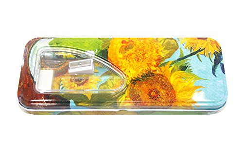 DaHo Tin Pencil Case with Pencils, Ruler, Eraser and Sharpener inside (Sunflower)