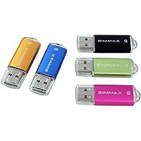 SIMMAX 5Pcs 8GB Usb Flash Drive Usb 2.0 Flash Drive Memory Stick Fold Storage Thumb Stick Pen(Five Mixed Colors: Black Blue Green Gold Rose)(Mix Color2)