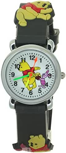 Disney Black Rubber Kids Watches with Winnie the Pooh and Piglet Theme