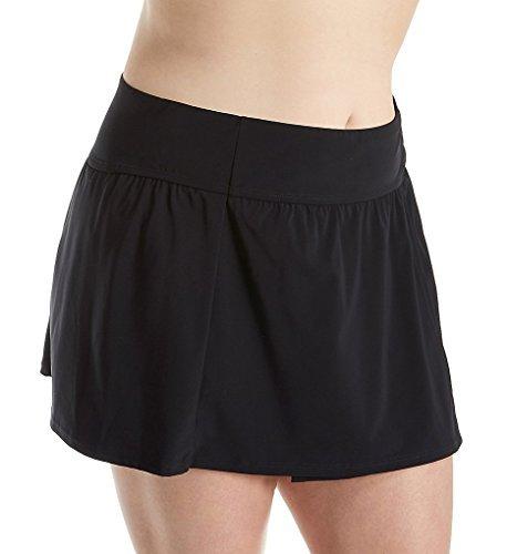 Christina Women's Plus-Size Solid Skirted Bikini Bottom, Black, 1X