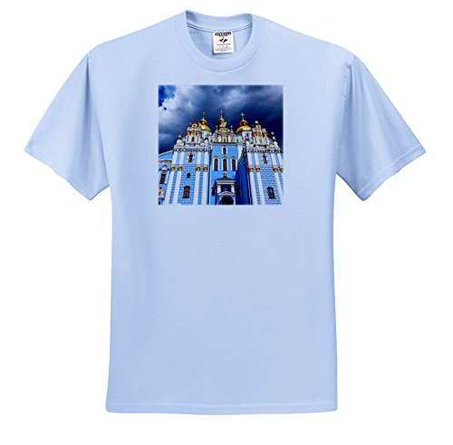Price comparison product image 3dRose Danita Delimont - Churches - Saint Michael monastery, Kiev, Ukraine. - T-Shirts - Youth Light-Blue-T-Shirt Small(6-8) (TS_257334_60)