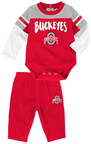 "NCAA by Outerstuff NCAA Ohio State Buckeyes Infant ""Halfback"" Short Sleeve Bodysuit & Pant Set, Red, 24 Months"