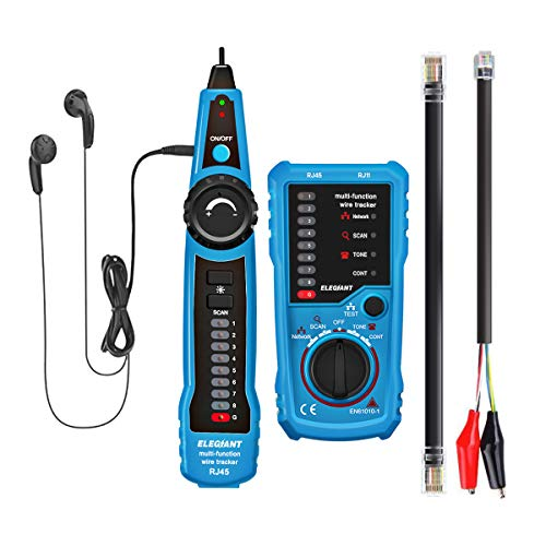 Wire Tracker, ELEGIANT RJ11 RJ45 Cable Tester Line Finder Multifunction Wire Tracker Toner Ethernet LAN Network Cable Tester for Network Cable Collation, Telephone Line Tester, Continuity ()