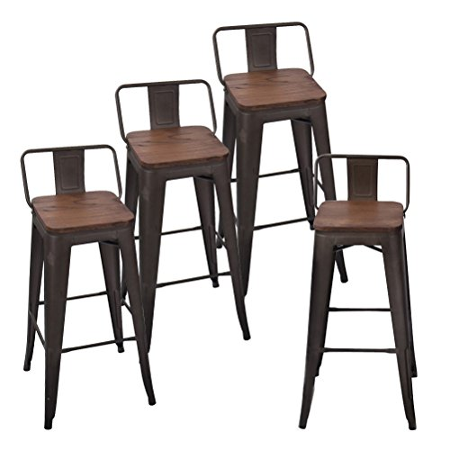 Andeworld Set of 4 Tolix-Style Counter Height Bar Stools Industrial Metal Bar Stools Indoor-Outdoor Low Back (30 Inch, Rusty with Wooden - 30 Back Bar