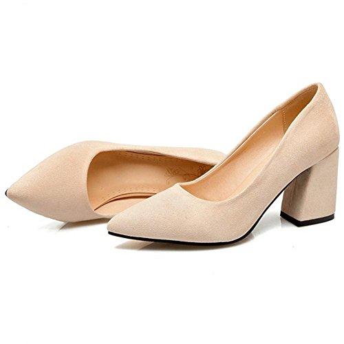 Women's 63 Court Heels Beige Shoes Office TAOFFEN 7gzSCw
