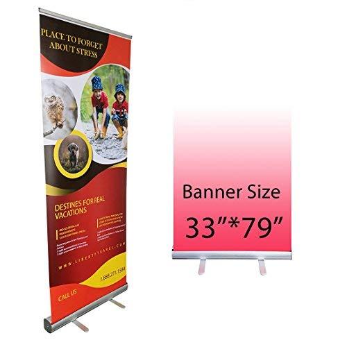 Retráctil Roll Up Banner Stand Promoción Letrero para el Comercio Show, viene con una bolsa de transporte, estructura de...