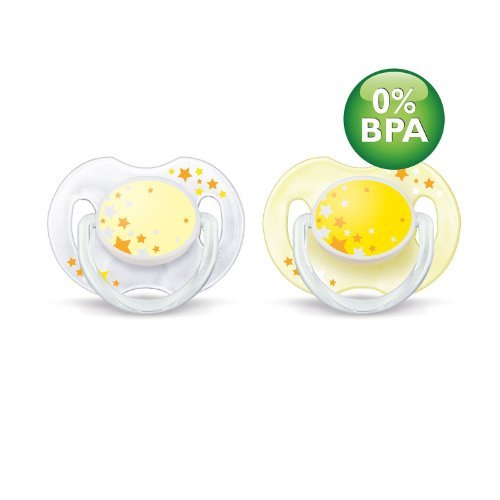 - Philips Avent BPA-Free 0-6 Months Night Time Newborn Pacifiers - 2 Pack (Yellow/Clear)