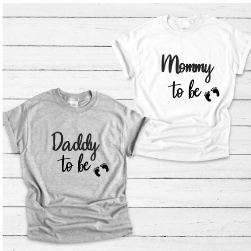 New baby Pregnancy reveal Daddy to be Mummy to be matching grey T-shirts set