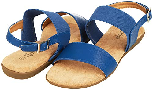 Blue Leather Strap - Floopi Summer Sandals for Women | Cute, Open Toe Sandals| Comfy, Wide Elastic & Faux Leather Ankle Straps W/Buckle Design, Flat Sole, Memory Foam Insole (6, Blue-512)