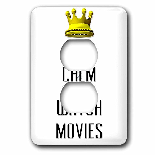 3dRose Lsp_120910_6 Gold Crown Keep Calm and Watch Movies 2 Plug Outlet Cover by 3dRose