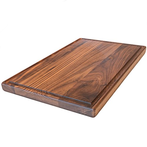 Large Walnut Wood Cutting Board by Virginia Boys Kitchens - 17x11 American Hardwood Chopping and Carving Countertop Block with Juice Drip (Dark Wood Cutting Board)