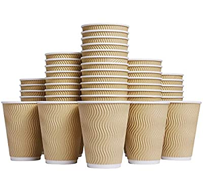 Luckypack WL001 Coffee Hot 12 oz Disposable Insulated Corrugated Sleeve Ripple Wall Paper Cup for Drink, 100,12oz