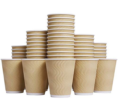 Luckypack WL001 Coffee Hot 12 oz Disposable Insulated Corrugated Sleeve Ripple Wall Paper Cup for Drink, 100,12oz (Brown)