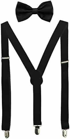 HABIBEE Solid Color Mens Suspender Y Shape with Strong Clips Adjustable Braces