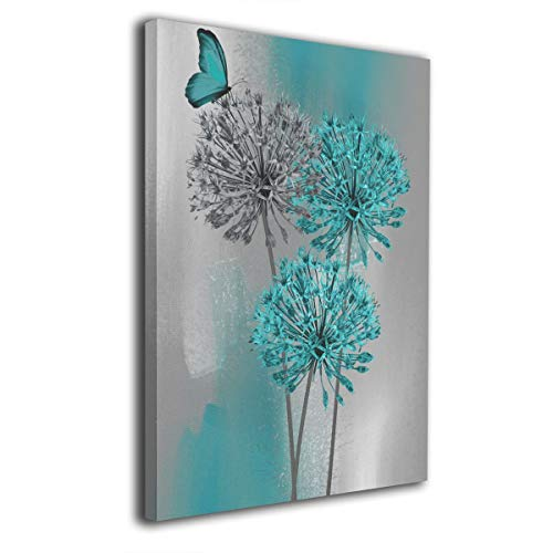 Butterfly Big Pictures - Kingsleyton Teal Gray Butterfly Flower Modern Wall Art Painting The Picture Print On Canvas Pictures for Home Decor Decoration Gift Stretched by Wooden Frame Ready to Hang