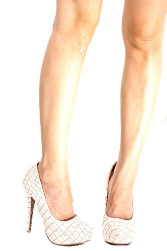 Marilyn Moda Faux Marilyn Moda Pelle Design Scarpe A Punta Tacco A Spillo Tacco Alto Scarpe Beige