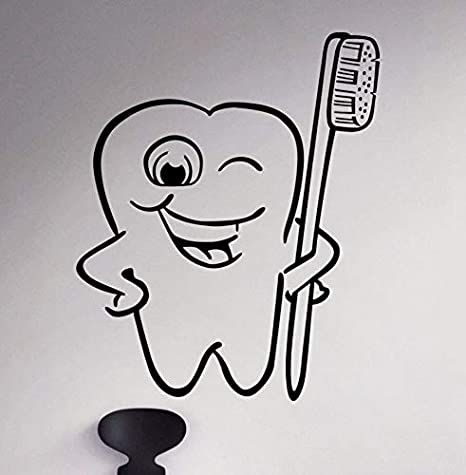 Cuidado dental Calcomanía de pared Cepillo de dientes Vinilo ...