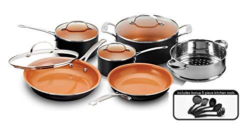 Gotham Steel 15-Piece Titanium & Ceramic Nonstick Copper Frying Pan and Cookware Set - Includes 5 Utensils