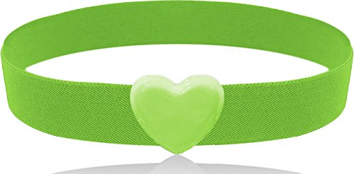 LUNA Fashion 2 Inch Heart Buckle Cinch Belt - Original - Green